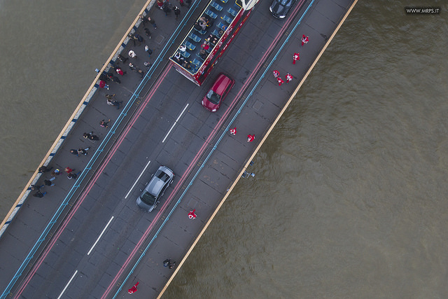 Santas' marathon: a view from the Tower Bridge glassfloor